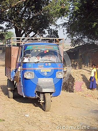 Piaggio Ape at the indian rural village Editorial Photo