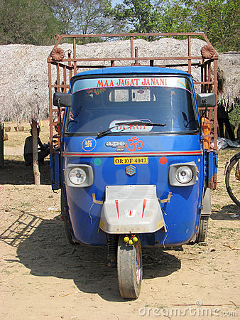 Piaggio Ape at the indian rural village Editorial Image