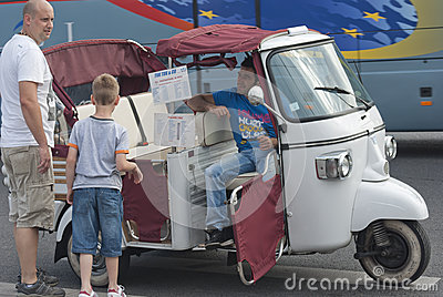 Piaggio Ape in Paris Editorial Stock Photo