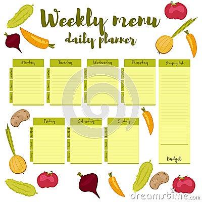 Pianificatore quotidiano di verde settimanale del menu for Capannone pianificatore di layout