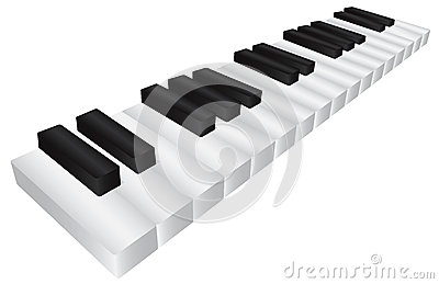 Piano Black and White Keyboard 3D Illustration