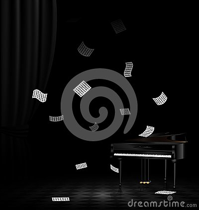 piano and flying note