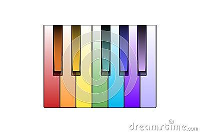 Piano för färgtangenter
