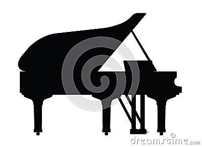 Piano instrument in silhouette