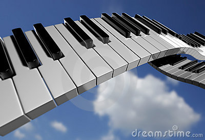 Piano key on sky