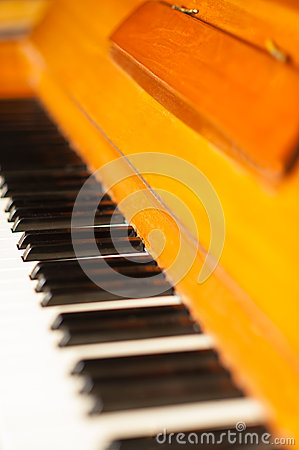 Piano keyboard, closeup shot