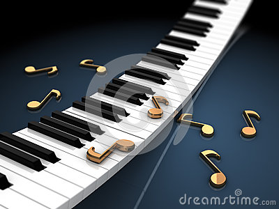 Piano keyboard and notes