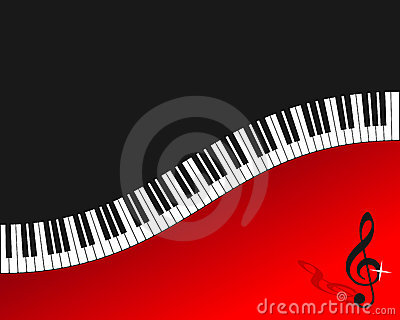 Piano Keyboard Red Background
