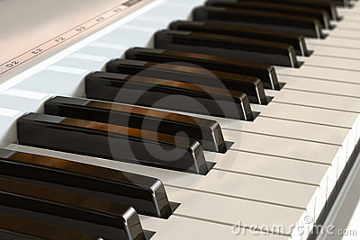 Piano keyboard with selective focus effect