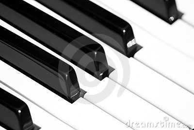 Piano keyboard with shallow depth of field