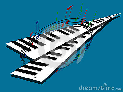 Piano Keyboards With Musical Notes