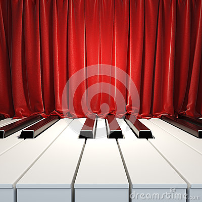 Free Piano Keys And Red Curtains. Royalty Free Stock Photography - 28818737