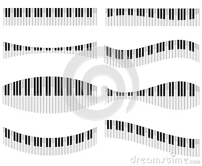 Piano keys for different forms of design