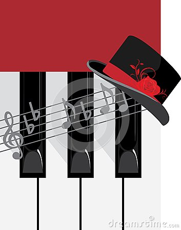 Piano keys and female hat