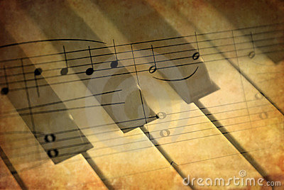 Piano keys with music