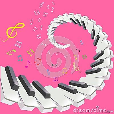 Piano keys and notes