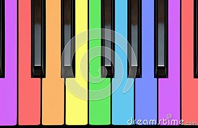 Piano keys in rainbow colors
