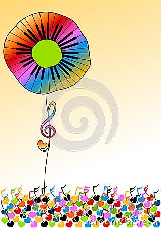 Piano Keys Rainbow Flower