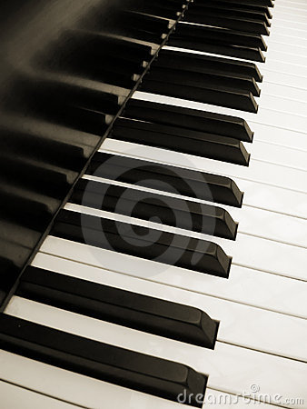 Piano keys in sepia