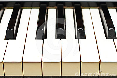 Piano keys from side