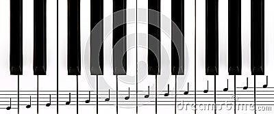 Piano keys and staff