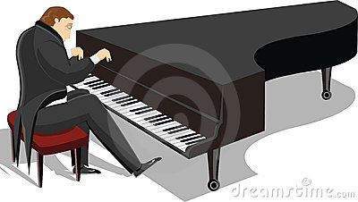 Piano man illustration