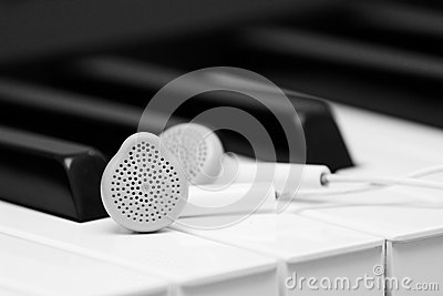 Piano music and earphones background