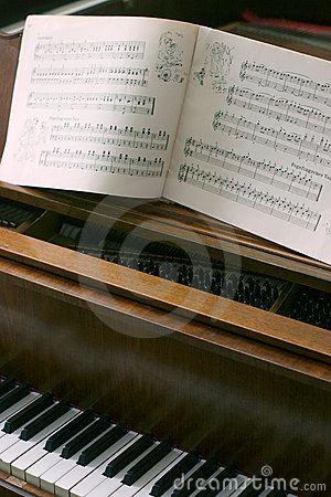 Piano with music notes