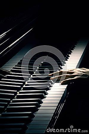 Piano keys playing