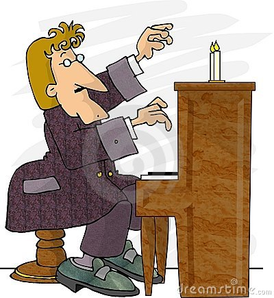 Piano Player Cartoon Illustration