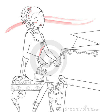 Piano player- vector illustration