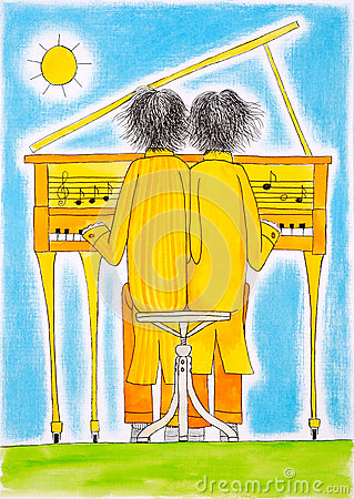 Piano players, Gemini, child s drawing, watercolor painting