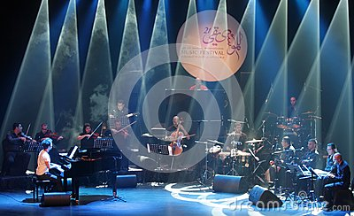 Piano Pop Zade Dirani performs at Bahrain, 2/10/12 Editorial Stock Image