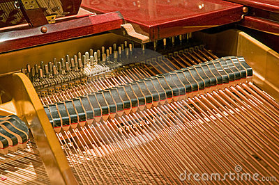 Piano strings and hammers
