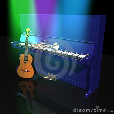 Piano Trumpet And Guitar Royalty Free Stock Photos - Image: 13450398