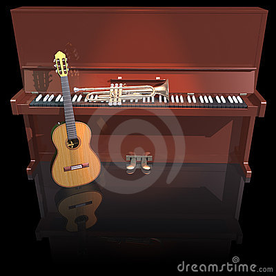 Piano trumpet and guitar