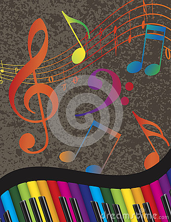 Piano Wavy Border with Colorful Keys and Music Not