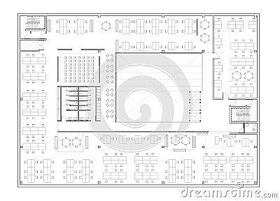 Pianta dell 39 edificio per uffici illustrazione di stock for Piano di costruzione dell edificio