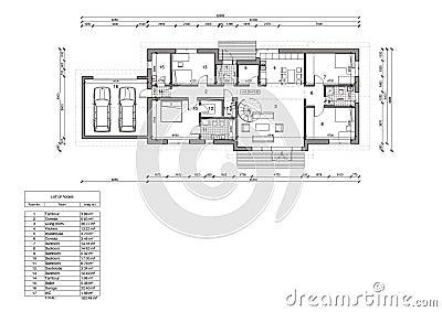 Pianta della casa unifamiliare illustrazione di stock - Disegno pianta casa ...