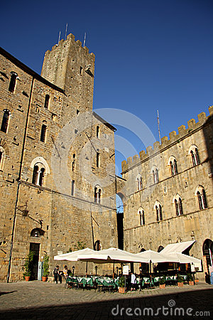 Piazza dei Priori in Volterra (Tuscany, Italy) Editorial Stock Image