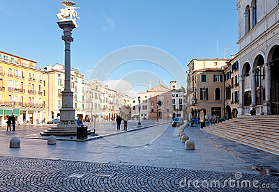 Piazza dei Signori and Church of San Clemente Editorial Stock Image