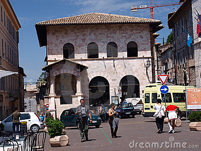 Piazza del Comune, Assisi, Italy Editorial Stock Photo