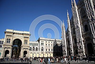 Piazza del Duomo in Milan, Italy Editorial Photography
