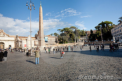 Piazza del Popolo is a large urban square in Rome Editorial Stock Image