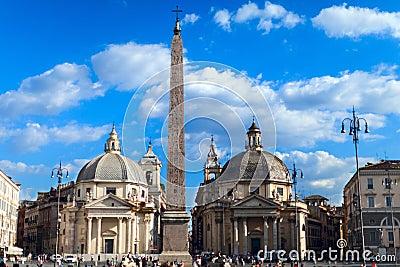 Piazza del Popolo, Santa Maria in Rome Editorial Image