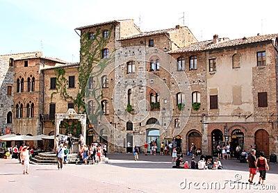 Piazza della Cisterna in San Gimignano, Italy Editorial Photo