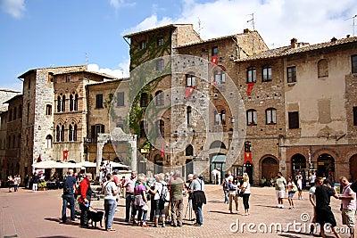 Piazza della Cisterna in San Gimignano (Italy) Editorial Image