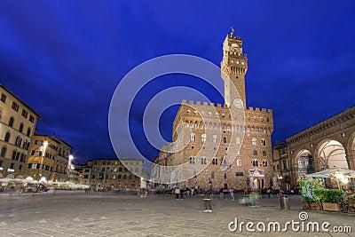 Piazza della Signoria at night, Florence, Italy
