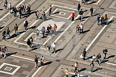 Piazza Duomo in Milan with locals and tourists Editorial Stock Image