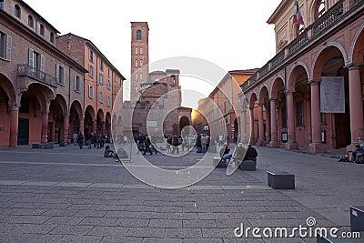 Piazza Giuseppe Verdi in Bologna Editorial Stock Image